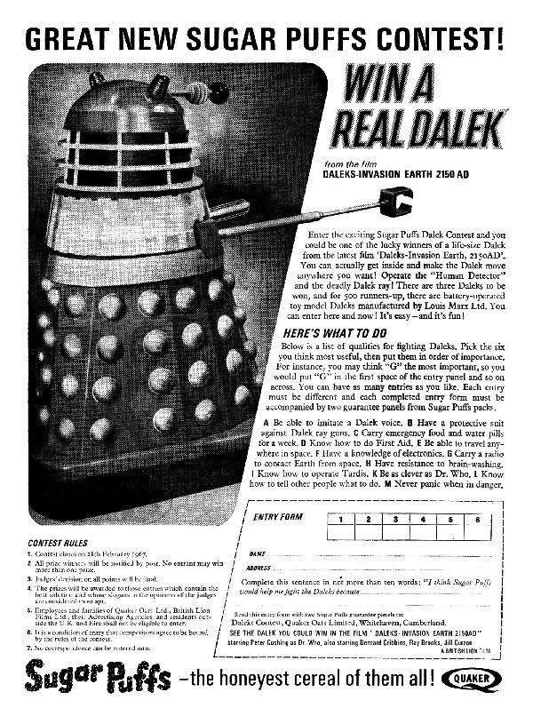 Sugar Puffs: Win a Dalek (c1966) (Credit: Sugar Puffs / Cereal Offers)